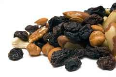 Trail Mix (Front View). Front view on a healthy trail mix on a white background Royalty Free Stock Photo