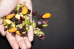 Trail mix on the hand. Royalty Free Stock Images