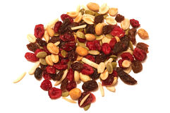 Trail mix portion. A portion of cranberry raising trail mix on white background royalty free stock photography