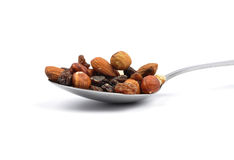 Trail mix on spoon Stock Image