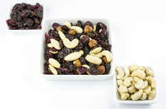 Trail mix in square bowls Stock Image