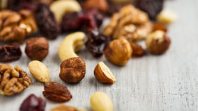 Trail mix. Variation of fruits and nuts Stock Image