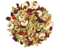 Trail mix on white Stock Photos