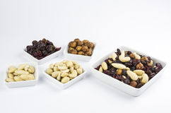 Trail mix on white Royalty Free Stock Photography