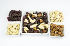 Trail mix on white Royalty Free Stock Photo