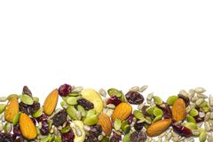 Trail mix on the white background. Stock Photo