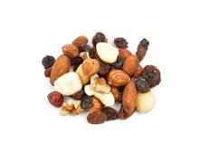 Trail mix on white Royalty Free Stock Images
