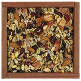Trail Mix With Nuts In A Wooden Box Stock Photo