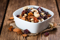 Trail Mix on wooden background royalty free stock images