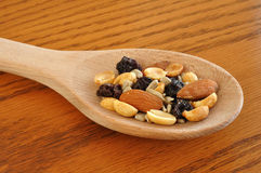 Trail Mix on Wooden Spoon Royalty Free Stock Photography