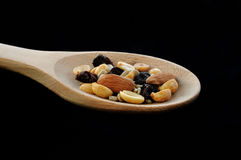 Trail Mix on Wooden Spoon Royalty Free Stock Images