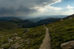 Trail on Mount Evans. Hiking on Mount Evans, in Colorado stock photo