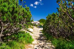 Trail and mountain chalet Royalty Free Stock Image