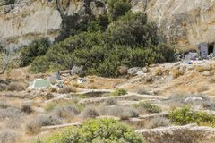 Matala , Red beach. Trail of the mountain on a nudist and hippie beach red beach near Matala, Crete, Greece , Europe .Caves, dwelling hippies Royalty Free Stock Images