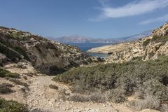 Matala , Red beach. Trail of the mountain on a nudist and hippie beach red beach near Matala, Crete, Greece , Europe Royalty Free Stock Photography