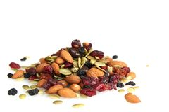Trail nuts and dry fruits Royalty Free Stock Images
