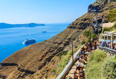 Trail from old port up to Fira town, Santorini Stock Photo