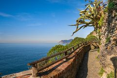 A trail overlooking sea in Cinque Terre Royalty Free Stock Images