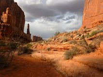 Trail in Park Avenue in Arches National Park Royalty Free Stock Image