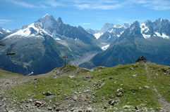 Trail and peaks nearby Chamonix in France Royalty Free Stock Photography