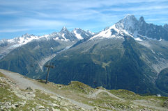 Trail and peaks nearby Chamonix in France Stock Image