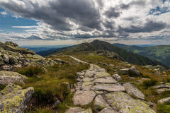 The trail. Photo was taken in Low Tatras national park from Chopok peak, Slovakia royalty free stock image