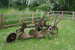 Trail plough. Farm equipment. Old trail plough, for pulling behind a tractor Stock Photo
