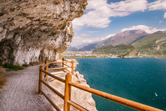 Trail of Ponale in Riva del Garda, Italy. The Ponale trail carved into the rock of the mountain in Riva del Garda, Italy Stock Photography