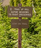 Trail Preservation Sign. Reminds hikers to stay off fragile meadow area stock images