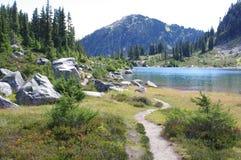 Trail by Rainbow Lake stock photo