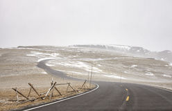 Trail Ridge Road during a blizzard in Rocky Mountains National P. Ark, Colorado, USA Stock Images