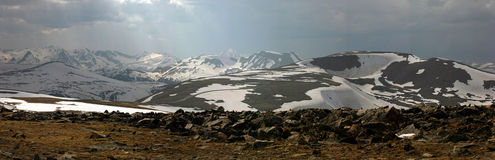 Trail ridge road panorama. View from trail ridge road looking west in spring  rocky mtn nat'l park Stock Photo