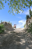Trail riding on dirtbike motorcycle. Dual sport dirtbike trail riding Royalty Free Stock Photos