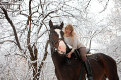 Trail riding in the winter park Royalty Free Stock Photo