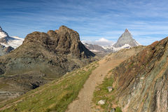Trail at Riffelhorn with Matterhorn, Zermatt, Alps, Switzerland Stock Photography