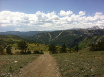 Trail in the Rocky Mountains. Top of a trail in the Rockies, USA Royalty Free Stock Photos