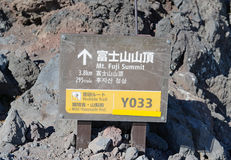 Trail route marker on Mount Fuji, Japan Stock Photography