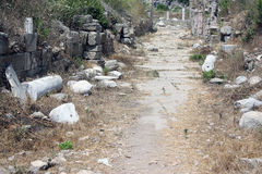 The trail through the ruins of the ancient city of Side. The trail through the ruins of the ancient city of Side Stock Photography