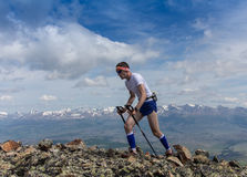 Trail runner, man and success in mountains. Running, sports Royalty Free Stock Images