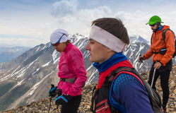 Trail runner, man and success in mountains. Running, sports. Trail runner, men and success in mountains. Running, sports, fitness and healthy lifestyle outdoors Stock Photo