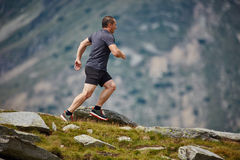 Trail runner in the mountains Stock Photos