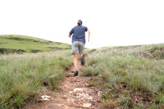 Trail runner. Training in the early morning hours, dew still wet on the grass and fog covering the mountains Royalty Free Stock Photo