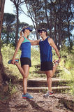 Trail runners stretching Royalty Free Stock Photos