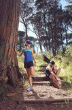 Trail runners stretching Stock Photos