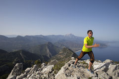 Trail running athlete man training for fitness Royalty Free Stock Photos
