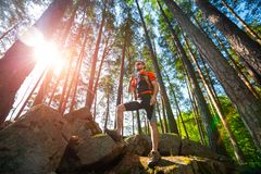 Trail running athlete stock image