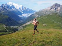 Trail running in Chamonix France Royalty Free Stock Photography