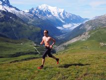 Trail running in Chamonix France Royalty Free Stock Image