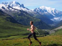 Trail running in Chamonix France Royalty Free Stock Photos
