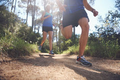 Trail running couple Stock Photography